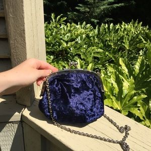 Blue crushed velvet mini purse with chain